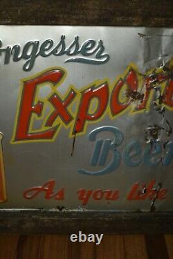 VERY RARE Vintage ENGESSER Export BEER ST PETER MN Advertising Tin Metal SIGN