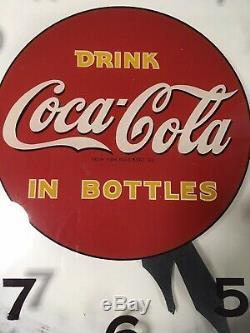 VERY RARE Vintage Lackner Co Coca Cola Wall Clock Drink Coke Cincinnati WORKS