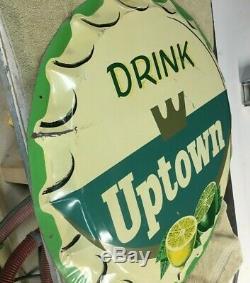 VINTAGE 1950's Drink FAYGO UPTOWN Soda Lemon Lime sign RARE 29