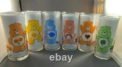 VINTAGE 1983 Pizza Hut Care Bears Glasses, COMPLETE set with RARE Good Luck Bear