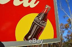 VINTAGE 40's WAR TIME COCA COLA SODA DRINK SILHOUETTE BOTTLE RARE MASONITE SIGN