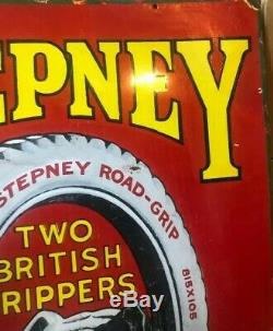 VINTAGE ENAMEL SIGN Stepney Tyres Very Rare Original Sign Two British Grippers