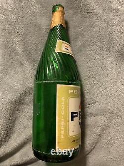 VINTAGE PEPSI-COLA PAPER LABELS GREEN 32oz SODA BOTTLE TOLEDO, OHIO. RARE