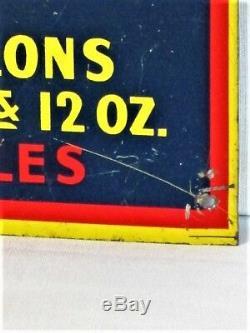 VINTAGE RARE 1940s DADS ROOT BEER SODA POP BOTTLE GAS STATION 14 METAL SIGN