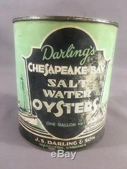 VINTAGE RARE SCARCE DARLING'S SALT WATER OYSTERS CAN HAMPTON VA 1930s