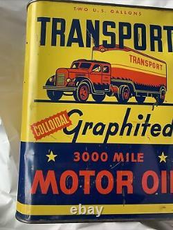VINTAGE Transport 3000 Mile MOTOR OIL- RARE- 2 GALLON