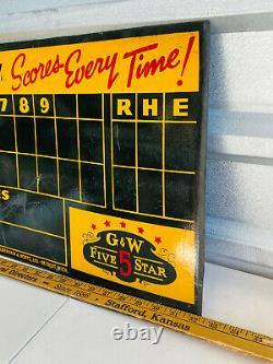 VTG 1940's RARE G&W Whiskey Baseball Scoreboard Sign heavy cardboard SEE PICS