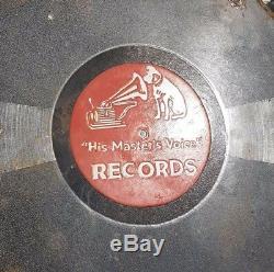 V RARE 1920's Old Vintage His Master's Voice Records Porcelain Enamel Sign Board