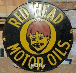 Vintage 1930's Old Antique Rare Red Head Motor Oil Porcelain Enamel Sign Board