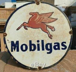 Vintage 1930's Old Antique Very Rare Mobil Gas / Oil Porcelain Enamel Sign Board