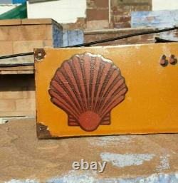 Vintage 1930's Old Antique Very Rare Shell Oil Stand Porcelain Enamel Sign Board