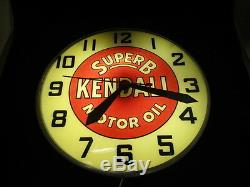 Vintage 1940-50s Super B Kendall Motor Oil Advertising Light Up Clock WORKS RARE