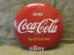 Vintage 1950s Coca-Cola Button Sign Antique Coke Beverage Soda Store RARE 9954