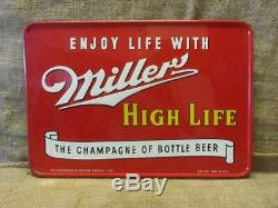 Vintage 1953 Embossed Miller High Life Beer Sign Antique Brewery RARE 9951