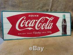 Vintage 1960s Embossed Coca-Cola Sign Antique Coke Soda Button Store RARE 9949