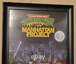 Vintage 1991 Nintendo Power TMNT 3 NES The Manhattan Project Framed Poster RARE