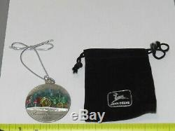 Vintage 1996 JOHN DEERE Pewter Christmas Ornament Model D Tractor RARE withPouch