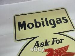 Vintage Advertising Mobil Gas Oil 1941 Garage Sign Very Rare Near Mint M-582