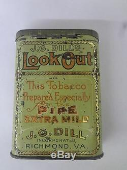 Vintage Advertising Rare Jg Dill's Look Out Tobacco Vertical Pocket Tin 254-y