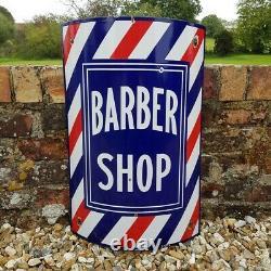 Vintage Barber Shop Enamel Sign Decorative Hairdresser Curved RARE