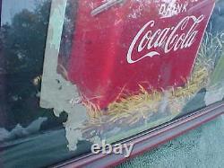 Vintage COCA COLA 1950 Cardboard Sign Rare Logo COKE BELONGS Framed 27 X 16 US