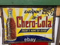 Vintage Chero-Cola Soda Drink Metal Sign with Bottle RARE EARLY 20 x 14
