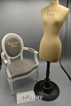 Vintage Christian Dior mini mannequin torso and classic chair (Doll Size) RARE