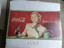 Vintage Coca-Cola Cardboard Sign Poster Lady Advertising RARE 1949 Litho 36x20