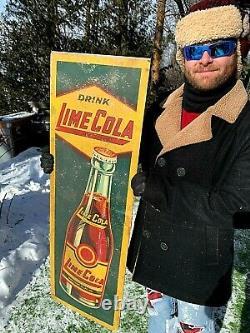 Vintage Early Rare Lime Cola Soda Pop Bottle Vertical Sign 39X13