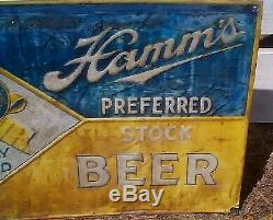 Vintage Early Rare Metal Hamms Beer Preferred Stock Sign Cabin Decor 24x18