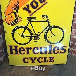 Vintage Enamel Sign Rare Hercules Cycle Original Enamel Sign #3624