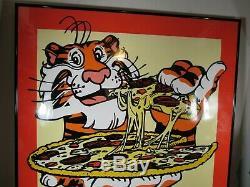 Vintage Exxon Tiger Domino's Pizza Buy 1 Get 1 Poster NOS Rare HTF Sign No Frame