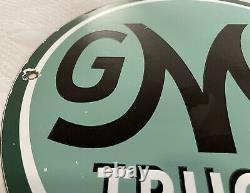 Vintage Gmc Trucks Porcelain Sign Gas Oil Pump Plate Rare General Motors Dealer