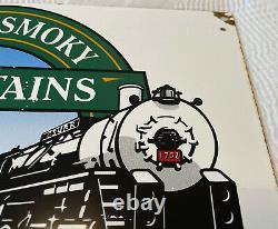 Vintage Great Smoky Mountains Railroad Porcelain Sign Oil Gas Pump Plate Rare