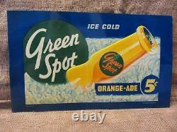 Vintage Green Spot Orangeade Drink Embossed Sign Antique Old Rare Orange 9535