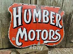 Vintage Humber Motors Enamel Advertising Sign Automobilia Motoring Cycle RARE