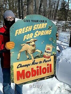 Vintage Lg Rare Mobil Mobiloil Motor Oil Service Station Sign Gas With Sheep
