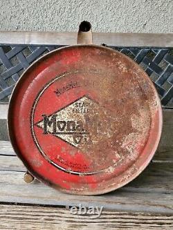 Vintage Mona Motor Oil 5 Gallon Metal Can Gasoline Advertising. Very Rare. 1920s