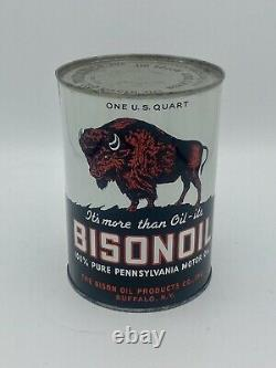 Vintage NOS Bisonoil Motor Oil Quart FULL Buffalo NY RARE Bison Oil Products Co