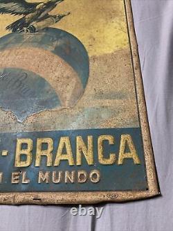 Vintage OG Rare Fernet-Branca Eagle Graphic Self Framed Tin Sign 19.75 x 13.75
