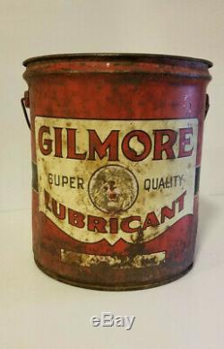 Vintage Oil Can Gilmore Lion Head Lubricant 5 Gallon RARE