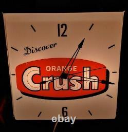 Vintage Orange Crush Advertising Lighted Pam Clock Work's Rare