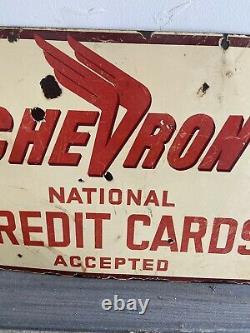 Vintage Original CHEVRON GAS STATION Credit Card Sign- RARE Standard Oil