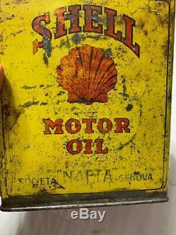 Vintage Original Early Rare Shell Slim One Gallon Italian Motor Oil Graphic Can