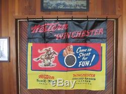 Vintage Original WINCHESTER SHOOTING GALLERY BANNER POSTER SUPER RARE