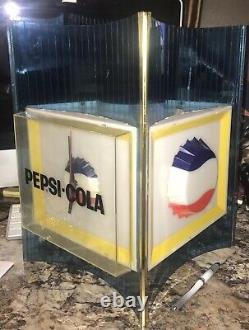 Vintage PEPSI-COLA Wall Clock/Lighted Sign 16 TALL Blue Plastic 1960s RARE htf