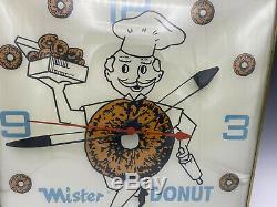 Vintage Pam Lighted Advertising Mister Donut Clock Very Rare Estate Find