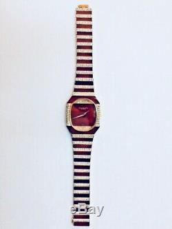 Vintage Patek Philippe 18K Gold Ruby Diamonds Watch 1971 Very Rare