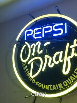 Vintage Pepsi On Draft Neon Sign Working! Rare All Original