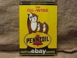 Vintage Porcelain Pennzoil Motor Oil Owl Sign RARE Antique Service Station 9837